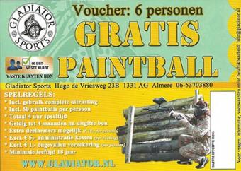 Gladiator kadobon 6p <br> Donderdag t/m zondag